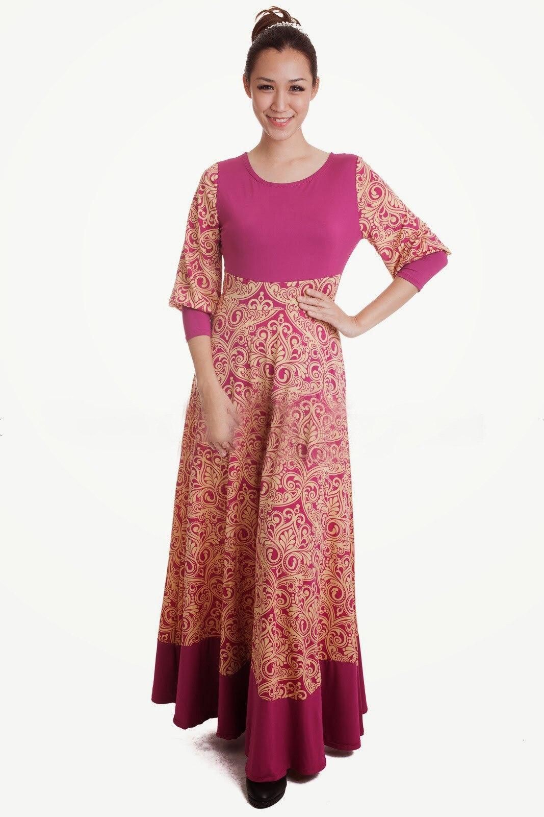 bd09f921da Milk Silk Cotton Dress Long Sleeve 2017 New Muslim Floral Print O ...