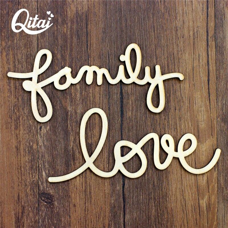 QITAI 24 teile/los Einfache Holz Buchstaben Alphabet Liebe Familie Home Decor Holz Liebe Buchstaben Handwerk Für Home Dekorationen Wf120