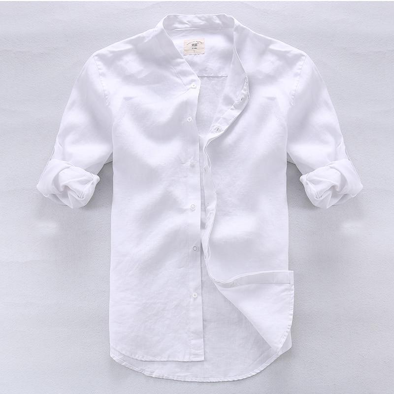 Këmishë për meshkuj Camisa Shirt Veshje për markë prej liri për - Veshje për meshkuj - Foto 3