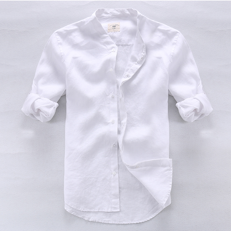 Camisa masculina Shirt Lelaki Linen Designer brand clothing Lelaki - Pakaian lelaki - Foto 3