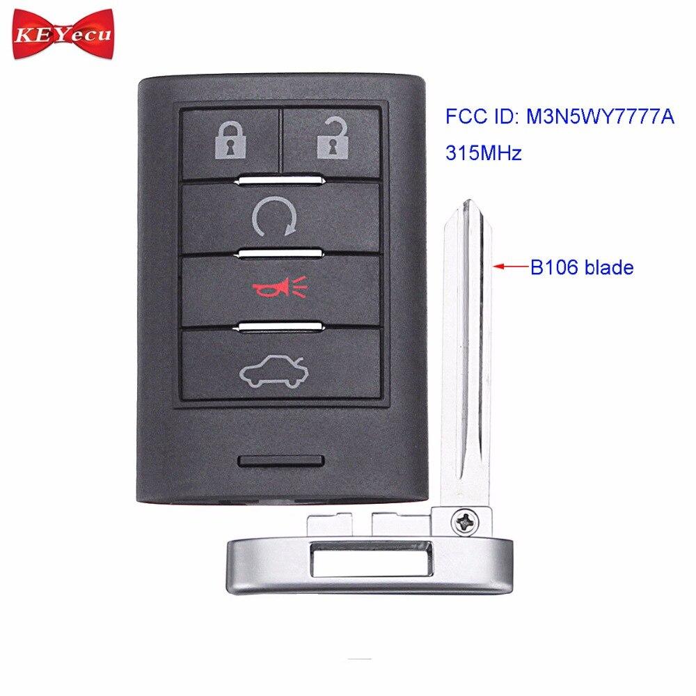 KEYECU for Cadillac CTS STS 2008 2014 Smart Remote Control Car Key Fob 5 Button 315MHz FCC ID: M3N5WY7777A 25943676