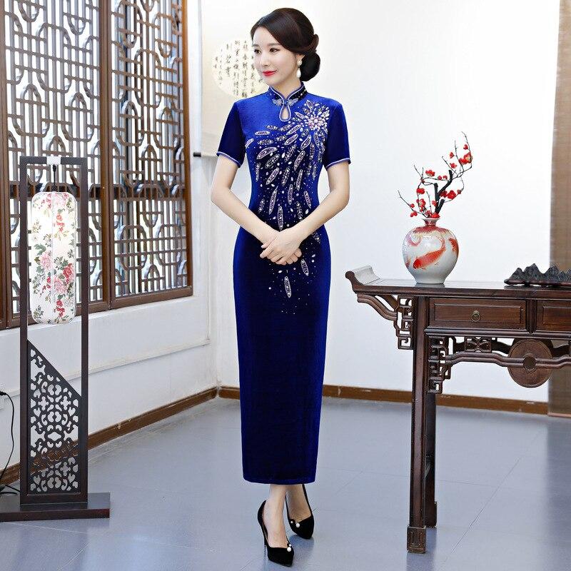 Robe Style Élégant bleu Velours 2018 Main Qipao Noir La Printemps bourgogne À Femmes pourpre Longue Cheongsam Dames Chinois Perles Robes Mince Partie PxfddXH