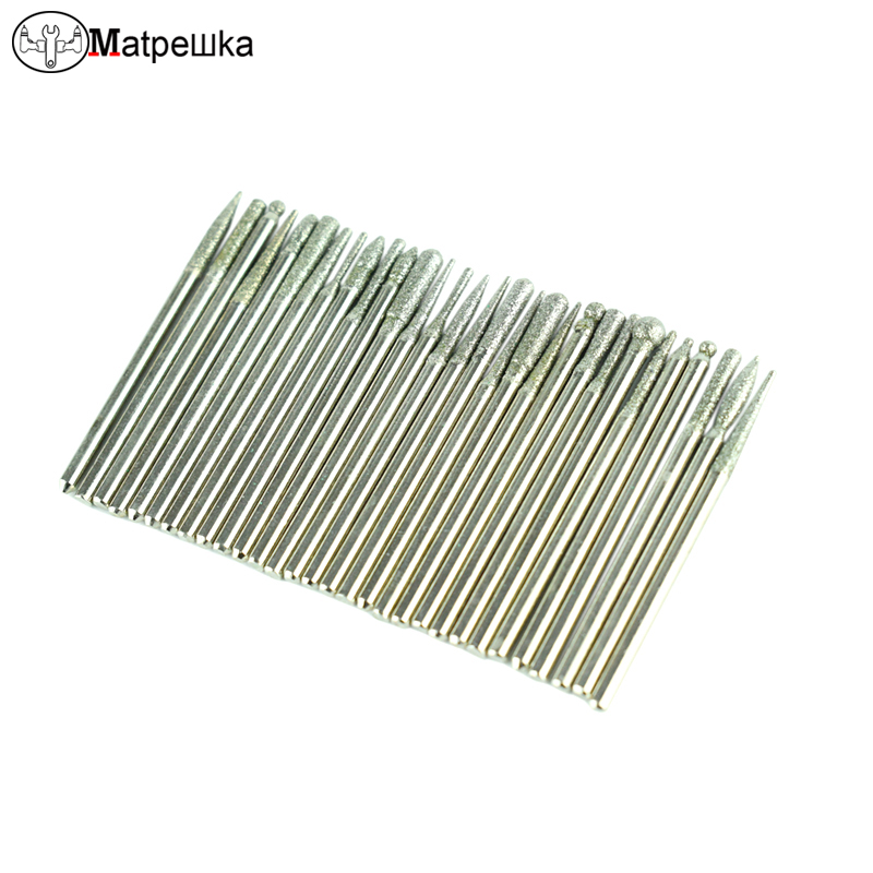 30Pc Diamond Burr Dremel Accessories Grinding Burr Needle Point Engraving Carving Polishing Glass Jade Stone Drill Rotary Tool