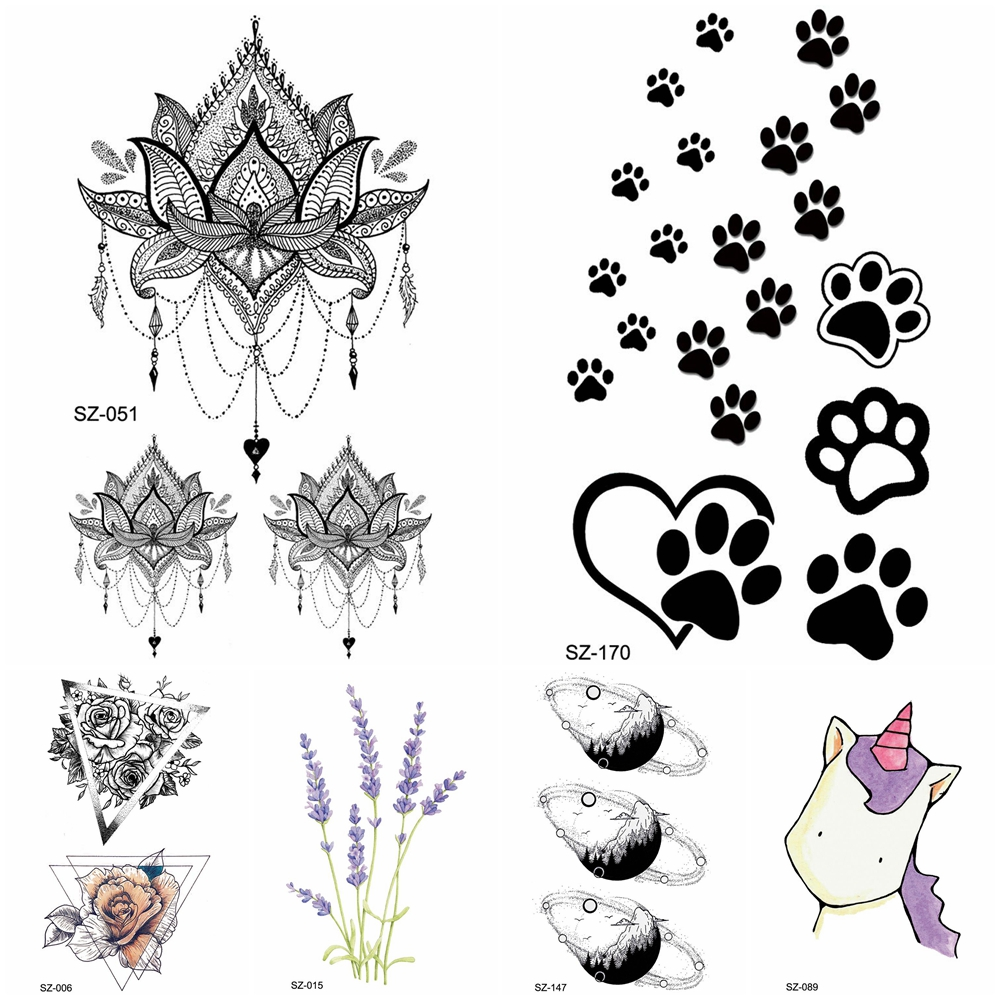 Black Small Paw Temporary Tattoo Women Body Arm Henna Lotus Pendant Tattoo Stickers Girls Fashion Ankle Unicorn Fake Tatoos DIY(China)