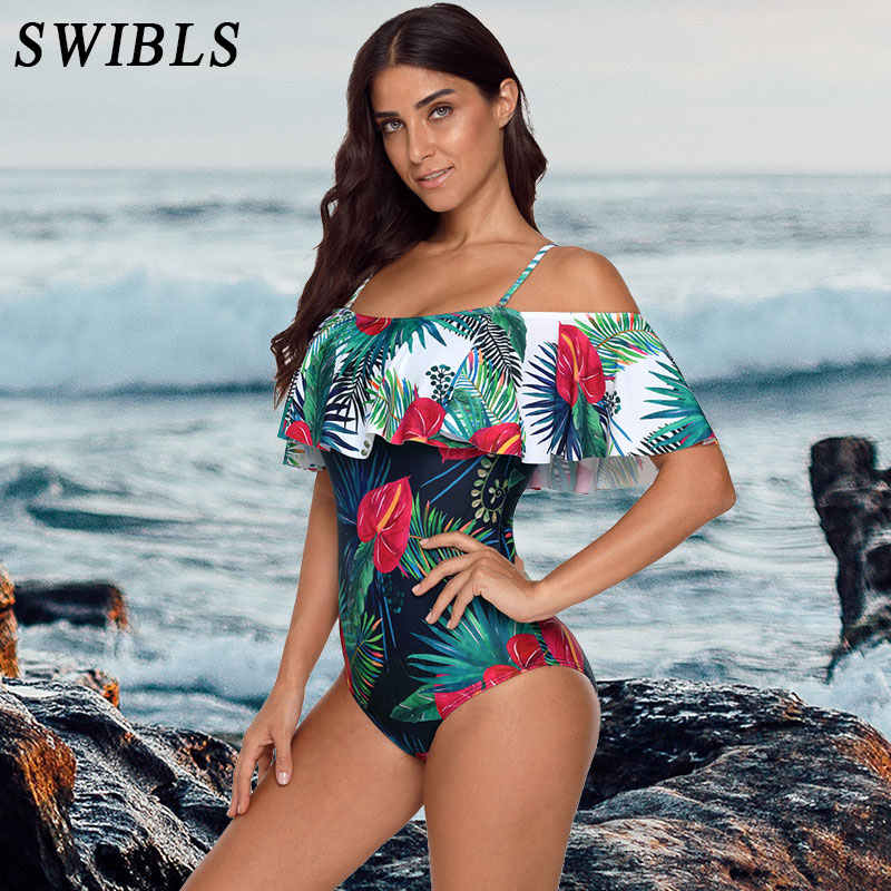 2019 Woman Plus Size Swimsuit One Piece Bathing Suit for Women Big Leaf Beach Swimming Vintage