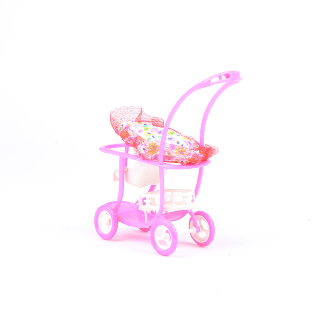 Kid Play House Nursery Furniture Stroller Plastic Trolley Accessories Toys  For Barbie Kelly Size Doll 1