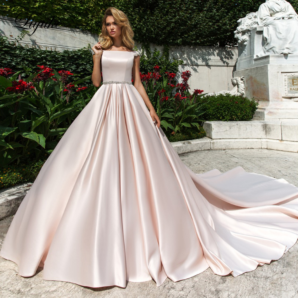 Liyuke Elegant Pink Satin A Line Wedding Dress With Boat Neck Short Sleeve Wedding Gown