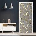 Фото обои 3D стерео Золотые листья дверь наклейка гостиная спальня современный абстрактный художественный домашний декор креативная DIY Нак...
