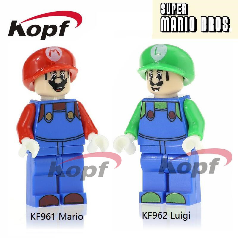 Super Heroes Super Mario Bros Mario Luigi RX-Black Dolls Model Bricks Christmas Building Blocks Children Gift Toys KF961 KF962 loz super mario kids pencil case building blocks building bricks toys school utensil brinquedos juguetes menino jouet enfant