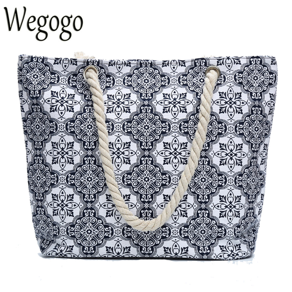 Vintage Women Handbag Beach Bag Printed National Boho Canvas Shoulder Bag For Lady Single Shoulder Bag Shopping Totes