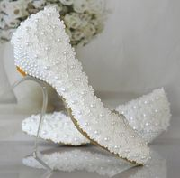 Plus size 40 41 42 wedding shoes white for woman new design wedding shoes low heel with lace flowers pearls TG374 bridal shoes
