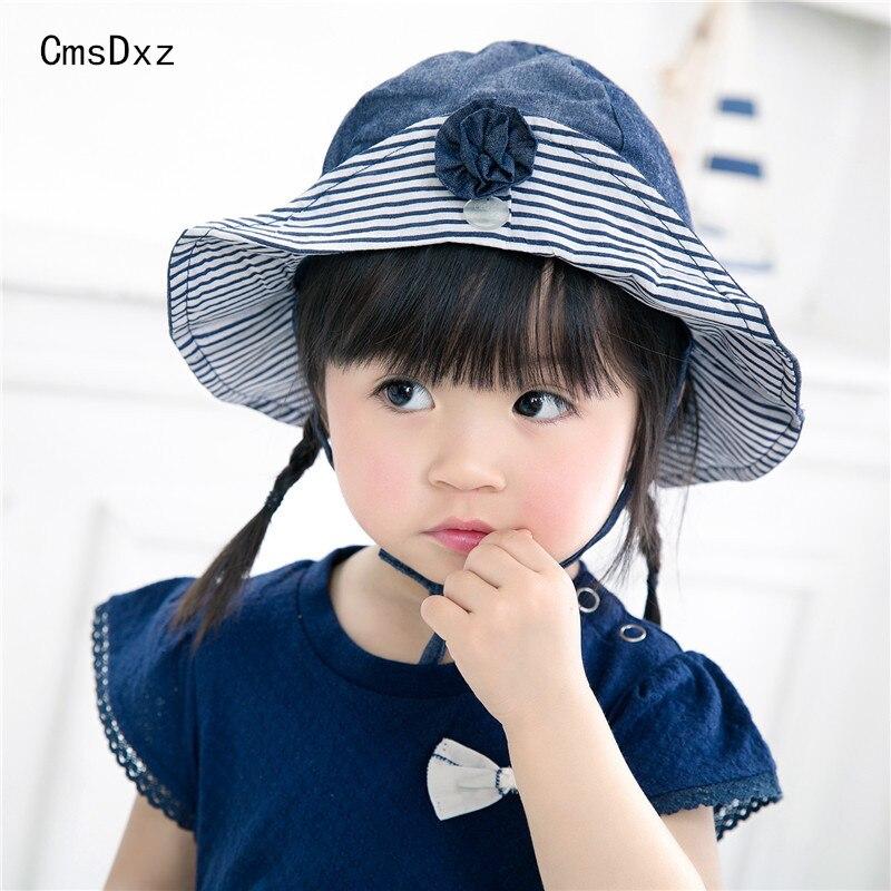 Cmsdxz 2018 مولود جديد كاب للبنات أزياء الربيع الصيف القطن قبعة الشمس قبعات زهرة مخطط الشمس قبعة الفتيات قبعة الصيف للأطفال قبعة