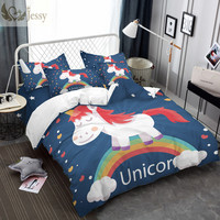 3D Bedding Set Cartoon Unicorn Design Kids Gift Bed Linens Various Colors Purple Navy Blue White