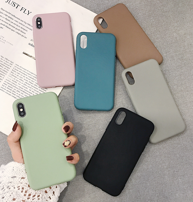 Solid Color Silicone Couples Cases For iphone 7 8 6 6S Plus X XS XR XS Max Cute Candy Color Soft Simple Fashion Phone Case-in Fitted Cases from Cellphones & Telecommunications