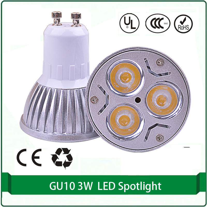 light bulbs gu10 2pcs led spotlight free shipping led lights gu10 3x1W 300 lm gu10 led light bulbs