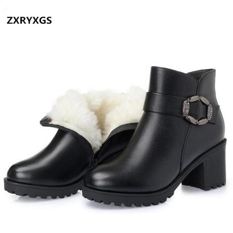 2019 New Winter Warm Comfortable Plush or Wool Snow Boots Women Ankle Boots Thick Heel Real Leather Shoes Woman Fashion Boots-in Ankle Boots from Shoes    1