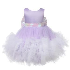 Фиолетовое Сетчатое платье с блестками для новорожденных, кружевное платье для маленьких девочек, вечерние платья на свадьбу, день рождени...