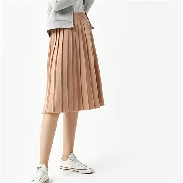 75077abd0f Thread Pleated Skirt Woman Winter Knit Skirt Long Section Wool Skirts  Autumn Casual Skirt Female Solid Color Bust Skirts 5SA21