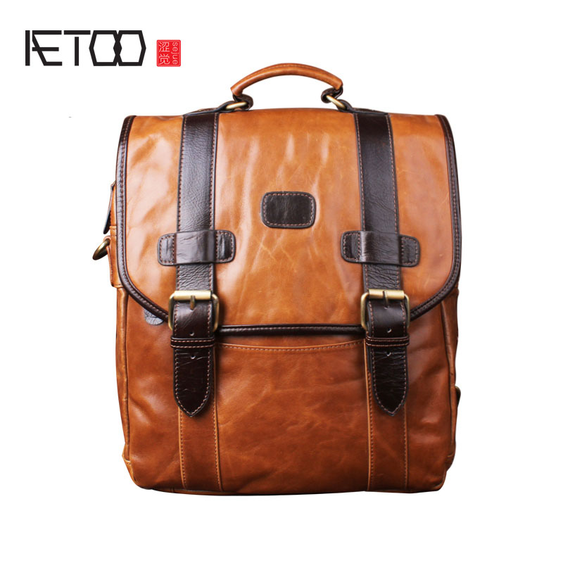AETOO Retro Male and women Leather Backpack Head Layer Leather Fashion Business Computer Bag Travel Backpack aetoo retro backpack men and women leather backpack leisure bag bags travel computer bags