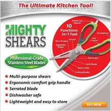 Mighty Shears Kitchen Knife & Cutting Board Scissors Food Cutter for Meat Vegetable seed 10 Function in 1 Tool