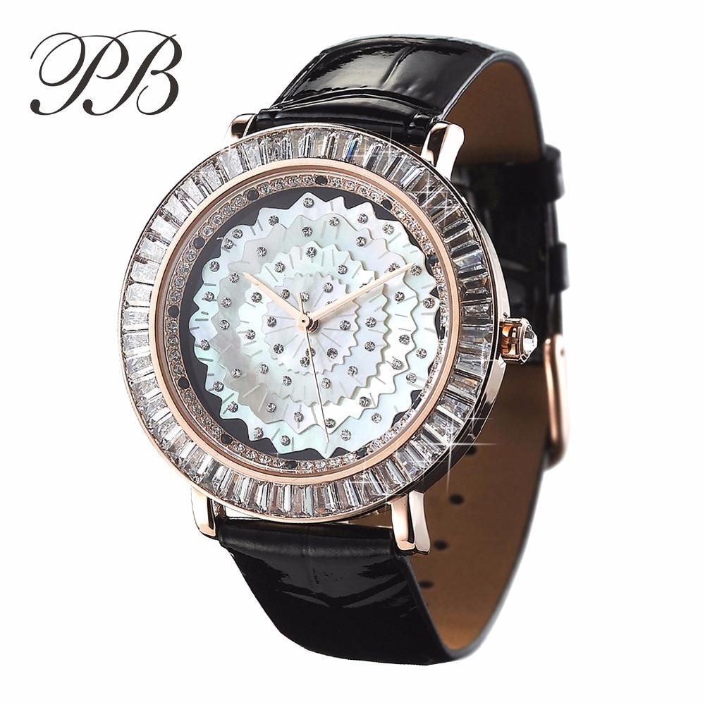 Top Quality Dress Leather Shell Flower Floral Swarovski Luxury Table Watch Women ladies Fashion Quartz Watches HL565PC часы quartz swarovski