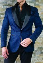 2019 New Arrival Airtailors Mens Wedding Suits Blue Paisley Pattern Shawl Lapel Suits for Wedding Jacket+Pants plus size