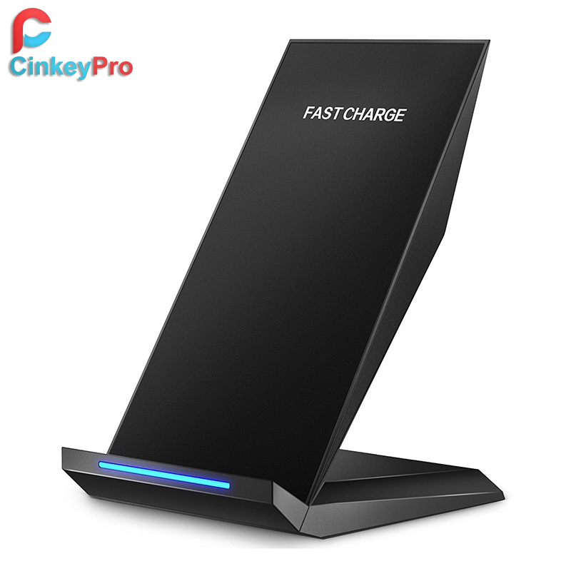 CinkeyPro QI Wireless Charger Quick Charge 2.0 Fast Charging 2-Coils Stand for iPhone 8 10 X Samsung S8 Mobile Phone Universal