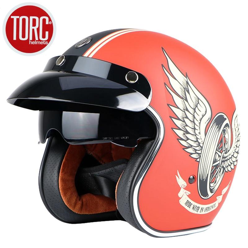 Livraison gratuite marque de mode TORC vintage moto casques mat noir capitaine amérique lunettes rétro Vintage Style ECE - 2