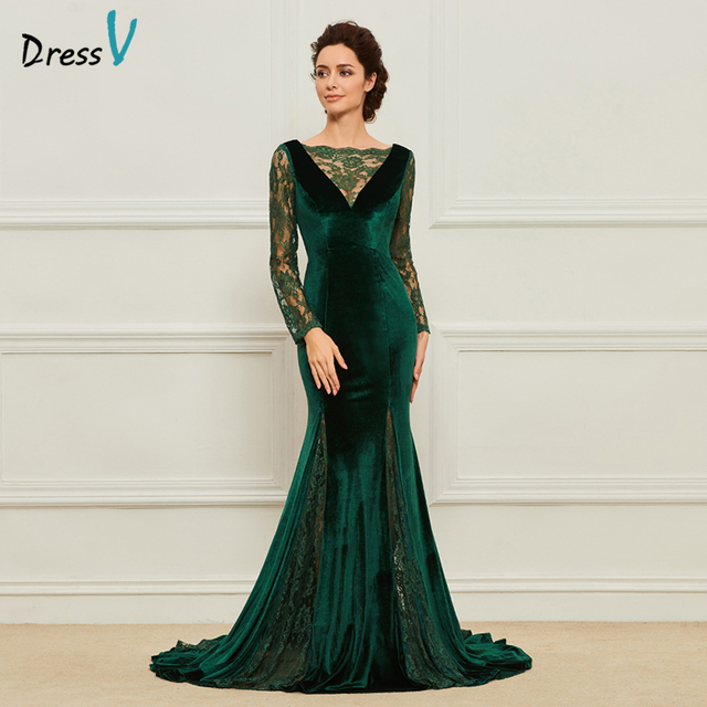 Dressv Green Long Mother Of The Bride Dress A Line Long Sleeves Scalloped-Edge Lace Backless Custom Mother Of The Bride Dress