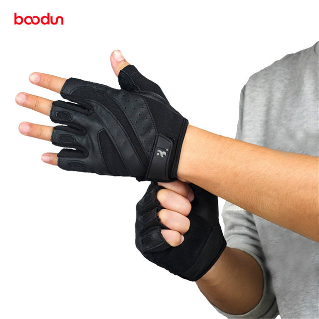 Boodun Genuine Leather Gym Gloves Men Women Breathable Crossfit Fitness Gloves Dumbbell Barbell Weight Lifting Sports Equipment 1