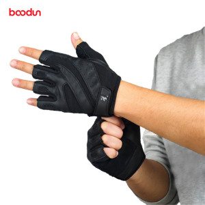 Image 1 - Boodun Genuine Leather Gym Gloves Men Women Breathable Crossfit Fitness Gloves Dumbbell Barbell Weight Lifting Sports Equipment