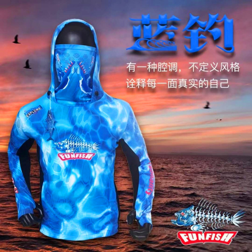 FUNFISH Fishing Clothes Long Sleeve L XL XXL 3XL With Hat Ultra-Light Hooded Quick Dry Sun Protection Fishing Shirt Anti-UV цены онлайн