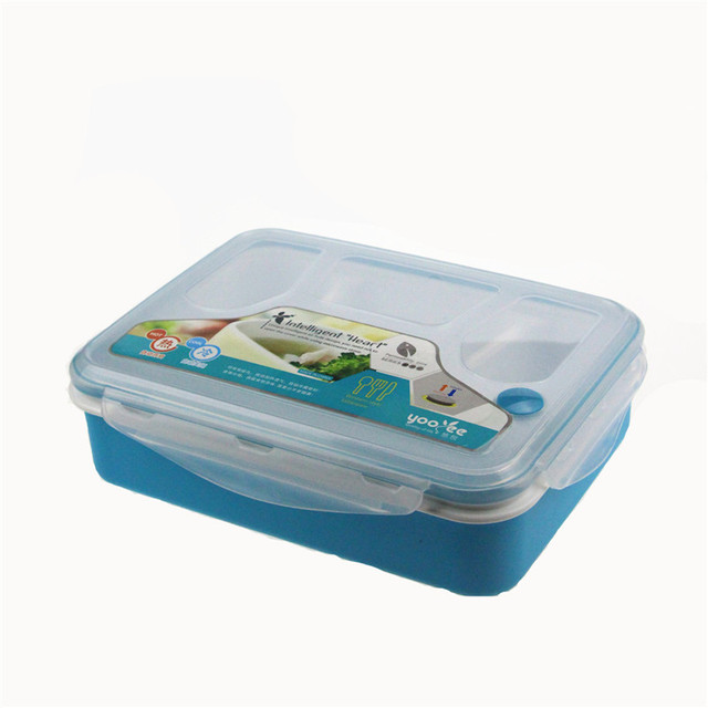 4 Compartment Lunch Box with Spoon Food Storage Containers Modern