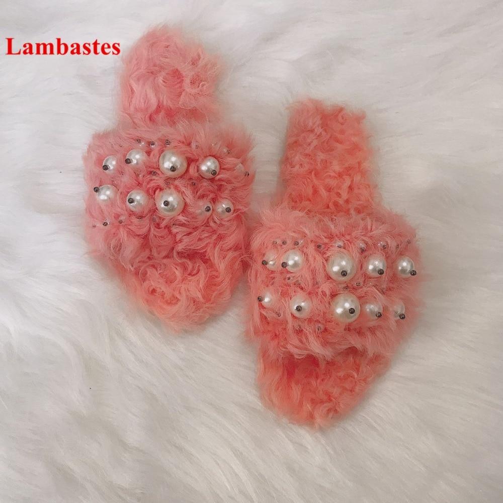 2018 Spring Summer Women Fur Slippers Open Toe Pink Orange Pearl Designer Women Slippers Outdoor Casual Women Flats Slippers цена