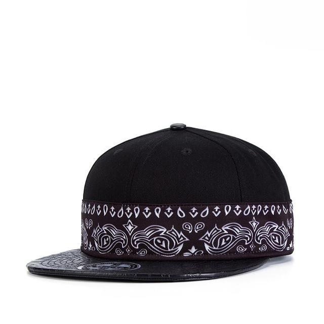 New Fashion White Paisley Black Adjustable Hip Hop Snap back Snapback Cap Hat Baseball Caps For Unisex Men and Women Wholesale