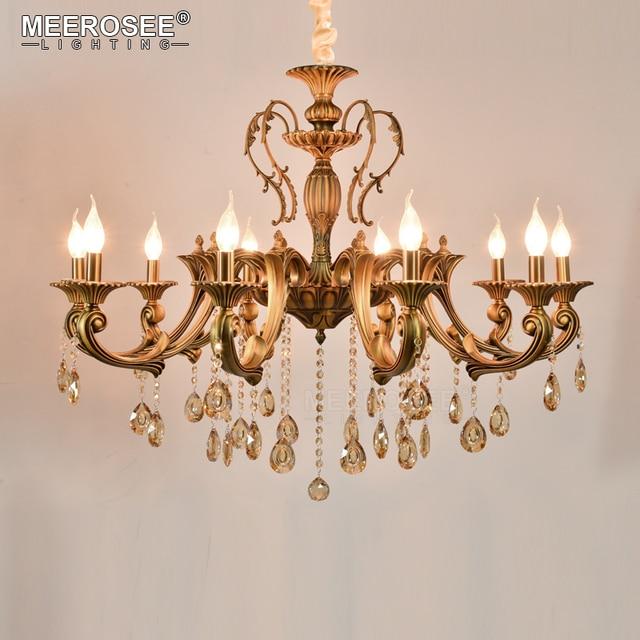 10 Heads Br Chandelier Light Fixture Antique Pendant Vintage Copper Crystal Lamp Res Lighting 100