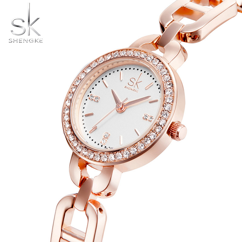 SK New Women Fashion Wrist Watch Diamond Golden Bracelet Wat