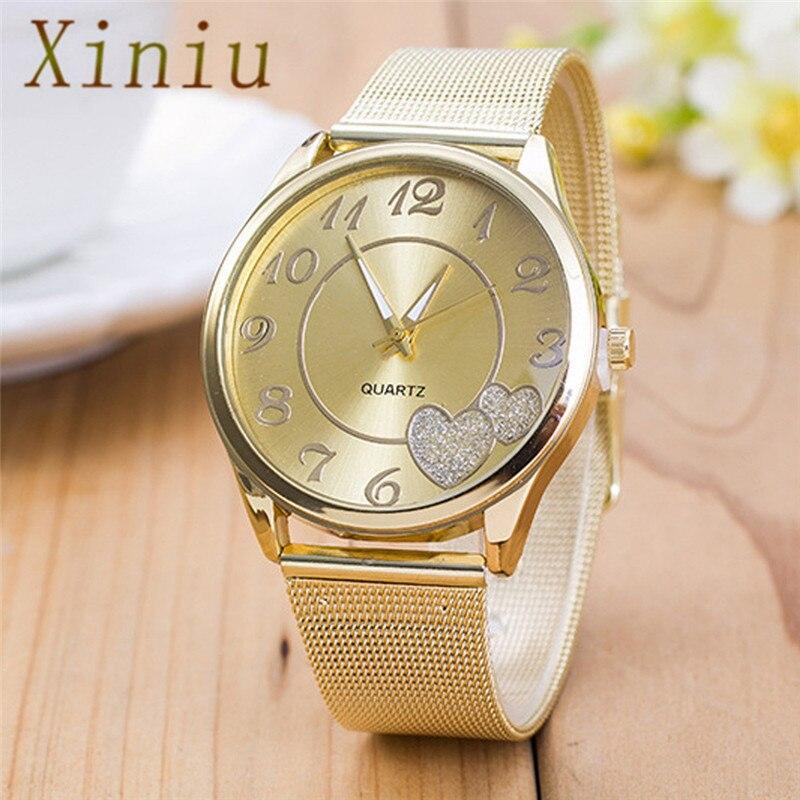Luxury Dress Watch Women Ladies Watch Gold Mesh Band Heart Pattern Silver&Gold Quartz Wristwatch Relojes Mujer
