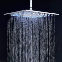 Brass Rainfall Shower Head LED Colors 16 Inches Rainfall Shower Heads Chrome Brass Over head Sprayer Brushed Nickel Top Shower