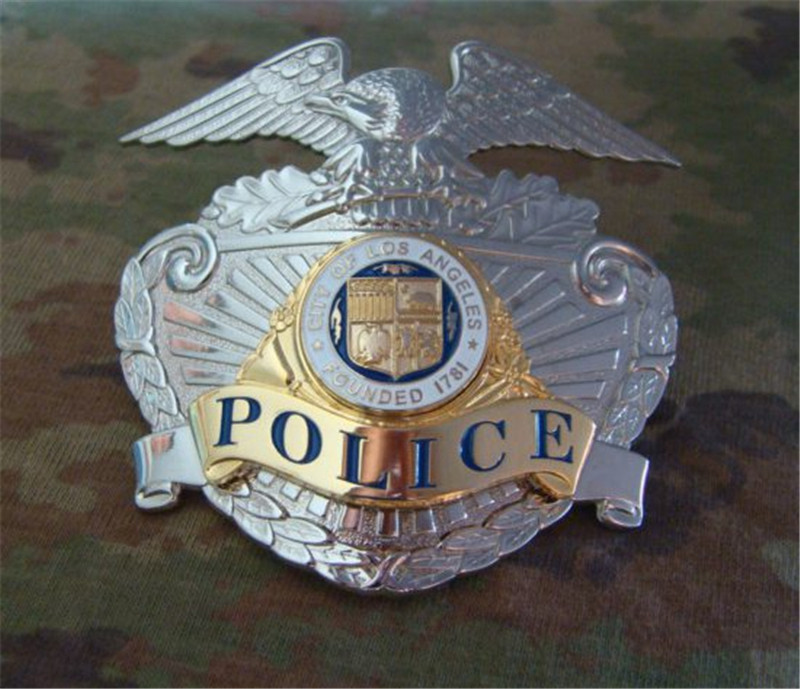 New United States LA Los Angeles Police Officer Cap Badge Copper LAPD CAP BADGE 1:1 Gift Cosplay Props