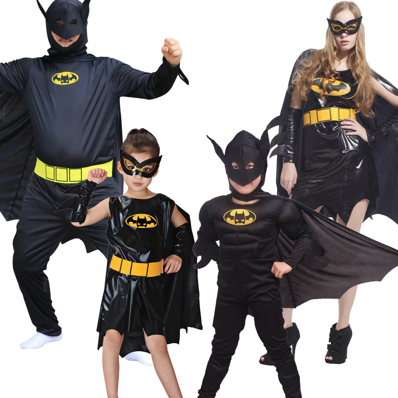 Batman Superhero Parent-Child Suit Halloween Children Cosplay Clothing Performance Costumes Kids Adult Muscle Batman Costume Set