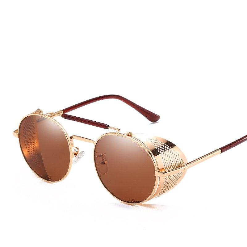Steampunk Goggles Men Carter Round Sunglasses Retro Vintage Women Sun Glasses Brand Designer Shades Eyewear Female