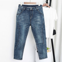 Spring Autumn High Waist Female Boyfriend Jeans For Women Trousers Denim Harem Pants Bleached Jeans Woman Plus Size