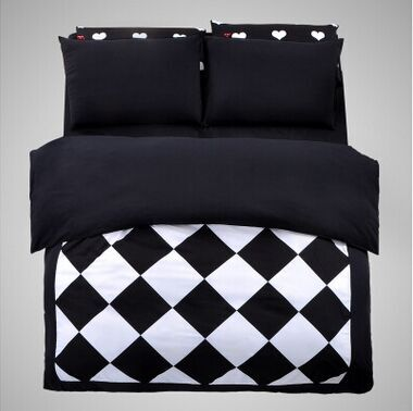 new black white square shape geometric bedding sets bedspread twin full queen king size bed linens - Twin Bed Comforters