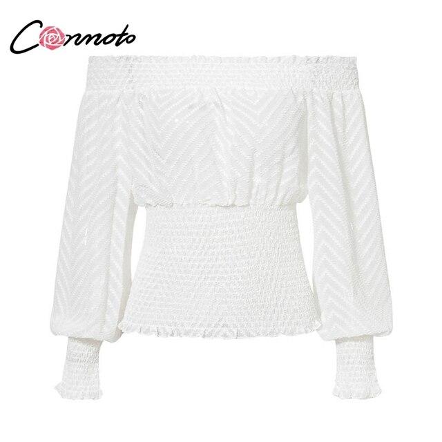 Conmoto Off Shoulder Smocking Chiffon Blouse Female Ruffle Elastic White Tops Elegant Mesh White Lantern Sleeve Blouse Shirt