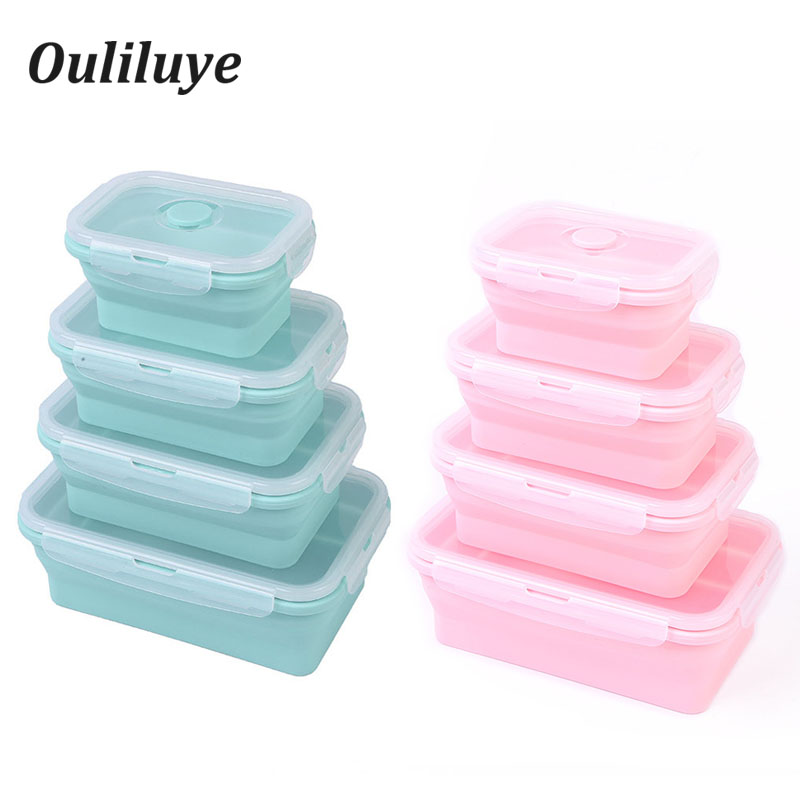 3PCS/Set Silicone Retractable Collapsible Bento Box For Storage Fruit Dinnerware Food Container Camping Outdoor Lunch