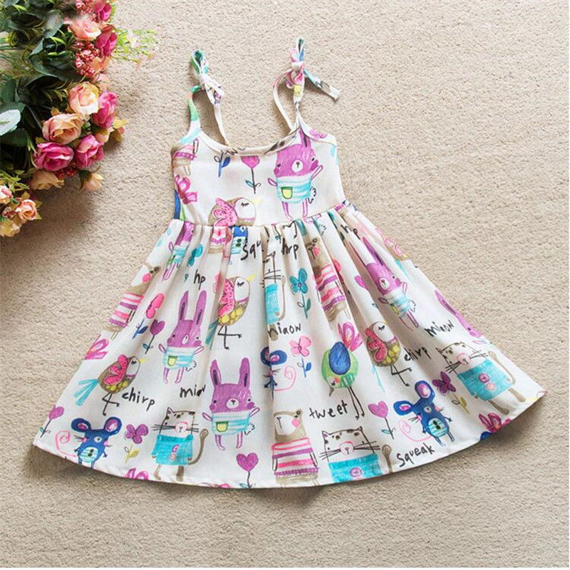 Girls Summer Dress New Brand Kids Cartoon Party Dress For Girls Children Cute Fashion Clothes in Dresses from Mother Kids