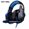 2016 Hotest EACH G2000 Over-ear Gaming Headset Earphone Headband Game Headphone with Mic Stereo Bass LED Light for PC Game Dota