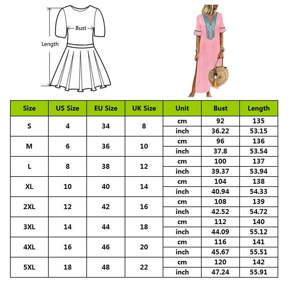 Женское платье макси с принтом в африканском стиле больших размеров 5XL, тонкое длинное платье с v-образным вырезом, однотонное платье с коротким рукавом 2019, летняя уличная одежда
