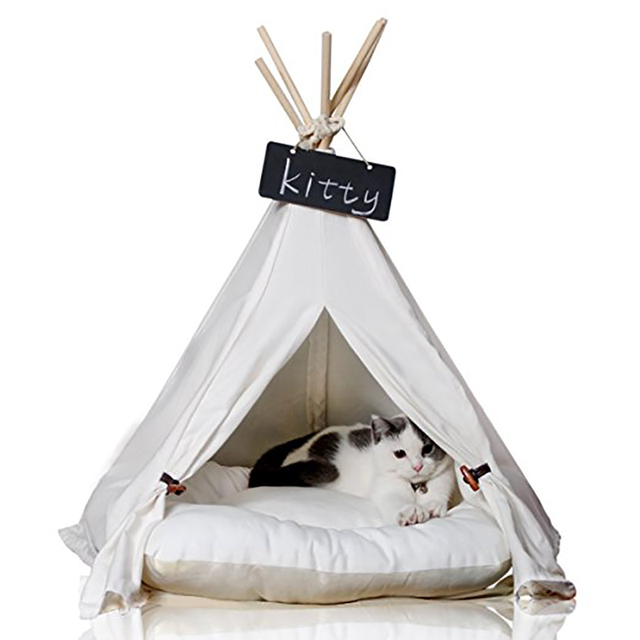 Comwarm White Pet Teepee House Pet Bed Cat Bed Pet House Portable Dog Tents Pet House Bed for Small Dogs ( with Cushion ) 2